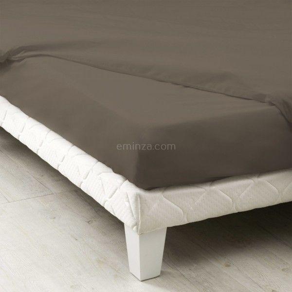 Drap housse coton supérieur (80 cm) Félicie Taupe   Linge de lit