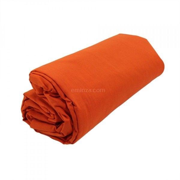 drap housse largeur 120 cm Drap housse coton supérieur (120 cm) Félicie Orange citrouille  drap housse largeur 120 cm