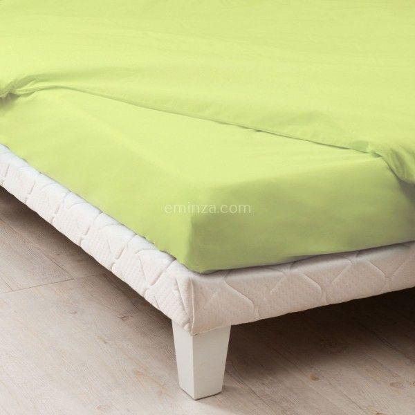 drap housse coton sup rieur 140 cm f licie vert anis drap housse eminza. Black Bedroom Furniture Sets. Home Design Ideas