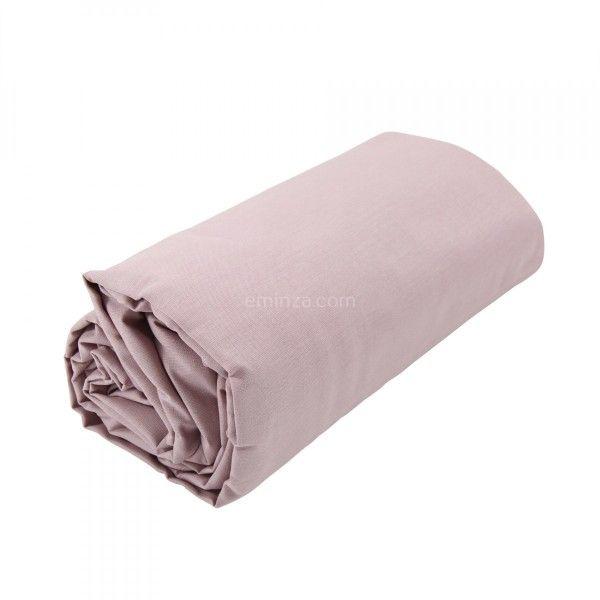 drap housse coton sup rieur 180 cm f licie rose clair ruban linge de lit eminza. Black Bedroom Furniture Sets. Home Design Ideas
