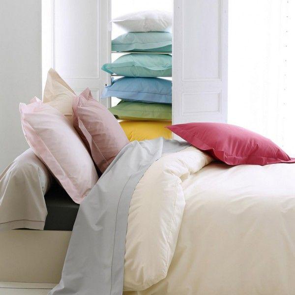 drap housse percale de coton 160 cm louise violet minerai linge de lit eminza. Black Bedroom Furniture Sets. Home Design Ideas