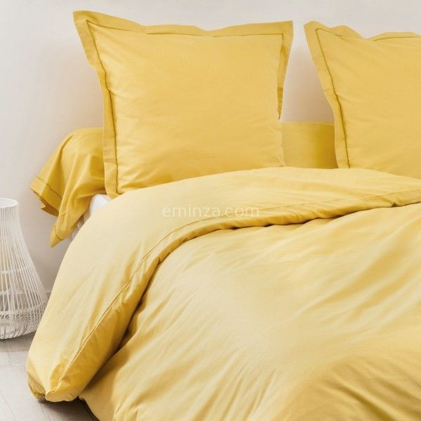 drap housse coton sup rieur 160 x h40 cm f licie jaune moutarde drap housse eminza. Black Bedroom Furniture Sets. Home Design Ideas