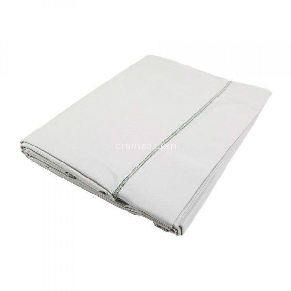 Drap plat coton supérieur (270 cm) Félicie Gris clair galet