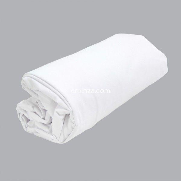 drap housse coton sup rieur 180 cm sidonie blanc linge de lit eminza. Black Bedroom Furniture Sets. Home Design Ideas