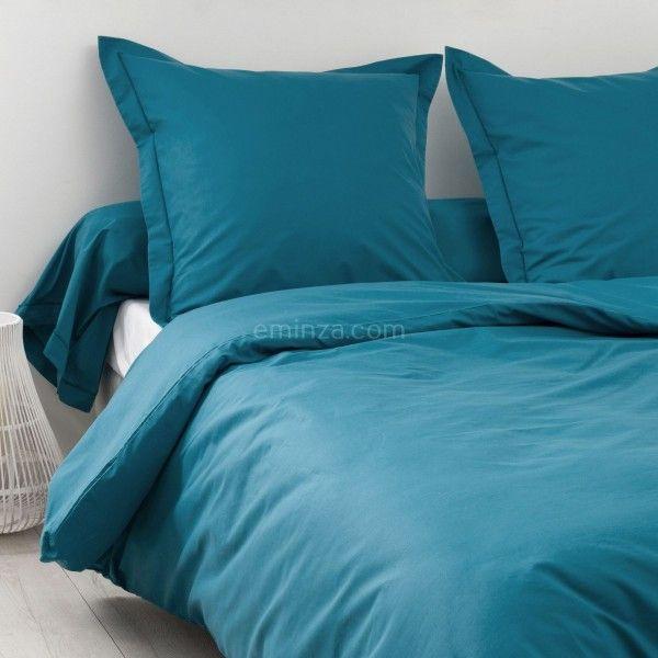 housse de couette coton 200 cm f licie bleu paon linge de lit eminza. Black Bedroom Furniture Sets. Home Design Ideas