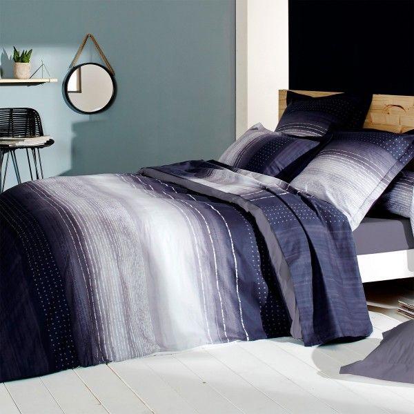 housse de couette percale de coton 240 cm jazz violet linge de lit eminza. Black Bedroom Furniture Sets. Home Design Ideas