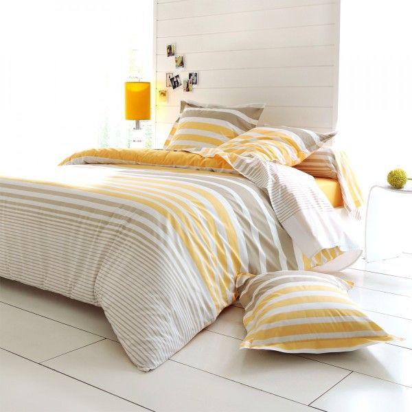 Housse de couette percale de coton 240 cm stripe jaune - Housse de couette en percale de coton ...