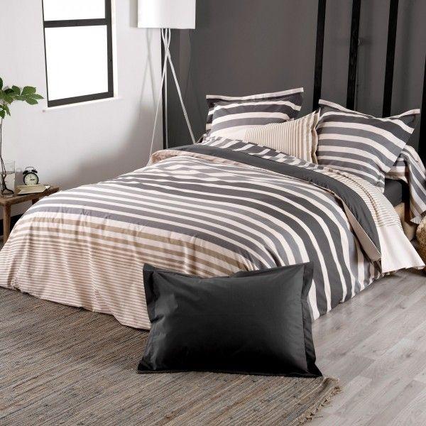 housse de couette percale de coton 260 cm stripe gris ficelle housse de couette eminza. Black Bedroom Furniture Sets. Home Design Ideas