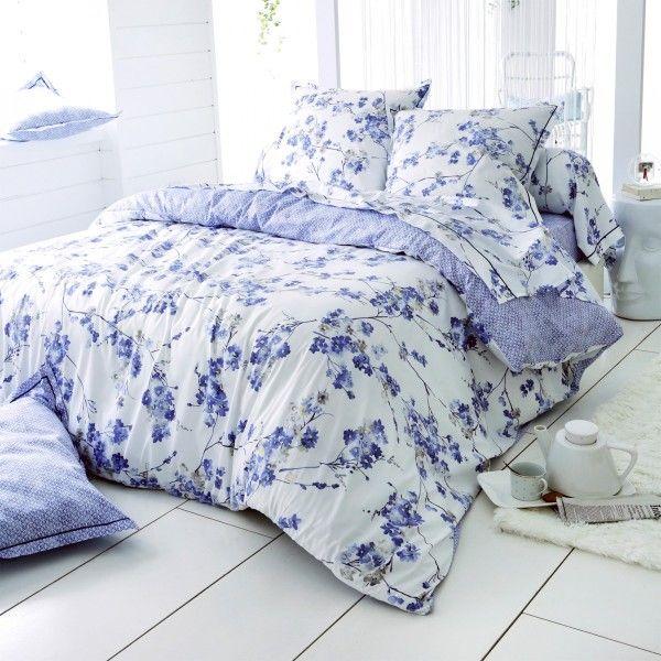 housse de couette satin de coton 260 cm blossom bleu linge de lit eminza. Black Bedroom Furniture Sets. Home Design Ideas