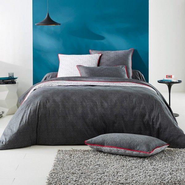 housse de couette satin de coton 260 cm gilda gris housse de couette eminza. Black Bedroom Furniture Sets. Home Design Ideas