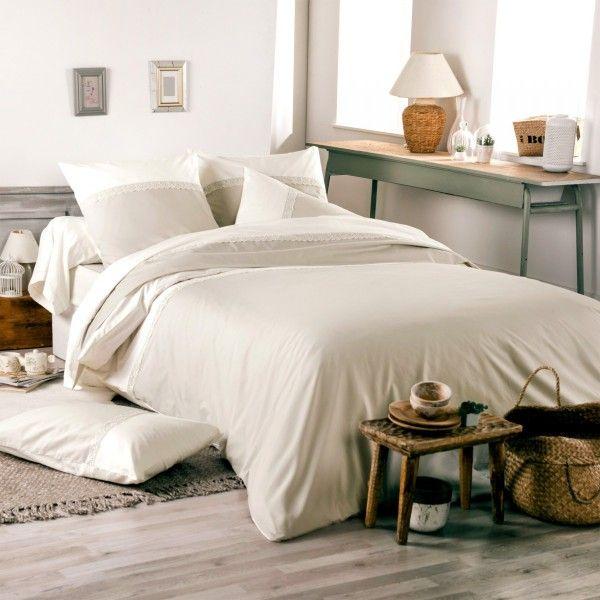 Housse de couette percale de coton 260 cm idylle beige - Housse de couette en percale de coton ...