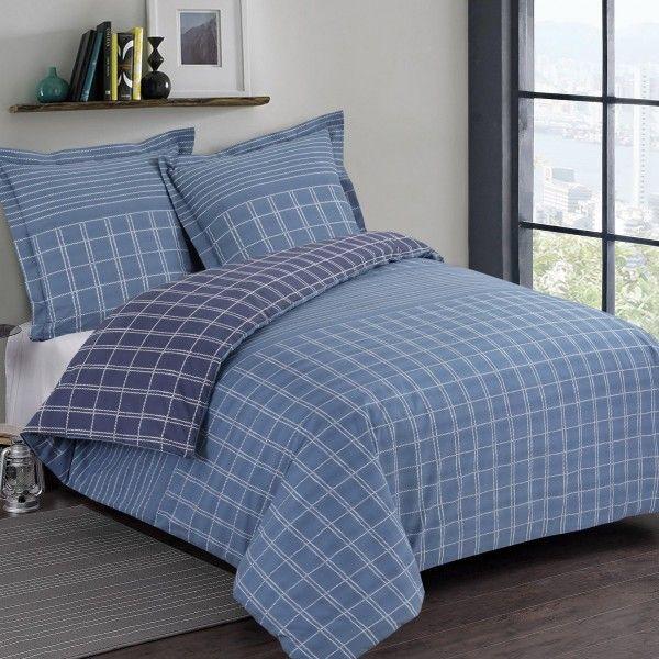 housse de couette et taie martin coton 140 cm bleu linge de lit eminza. Black Bedroom Furniture Sets. Home Design Ideas