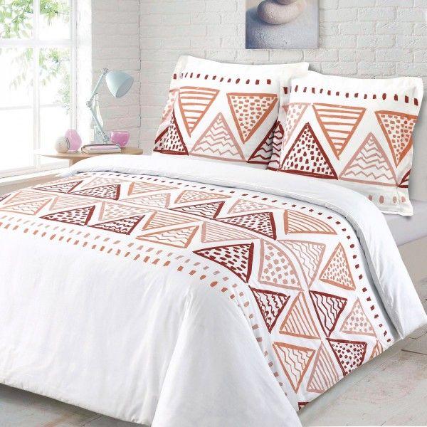 housse de couette et deux taies ruben coton 240 cm blanc linge de lit eminza. Black Bedroom Furniture Sets. Home Design Ideas