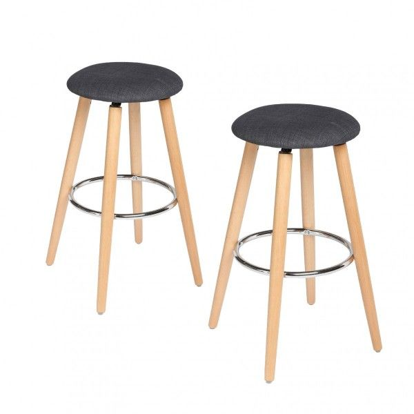 lot de 2 tabourets de bar naor gris - Lot De 2 Tabouret De Bar