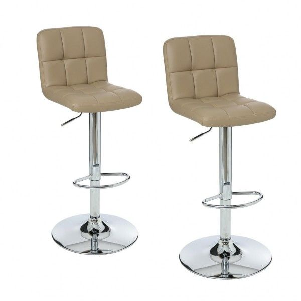 lot de 2 tabourets de bar delek taupe - Lot De 2 Tabouret De Bar