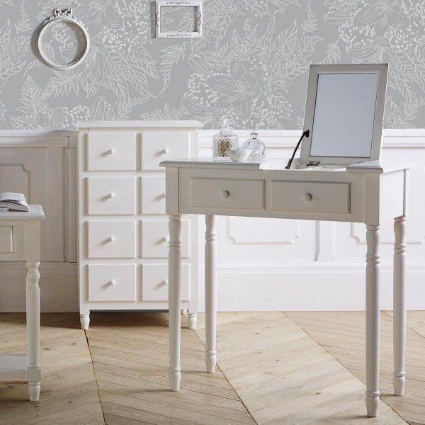 coiffeuse mila blanc meuble de chambre eminza. Black Bedroom Furniture Sets. Home Design Ideas