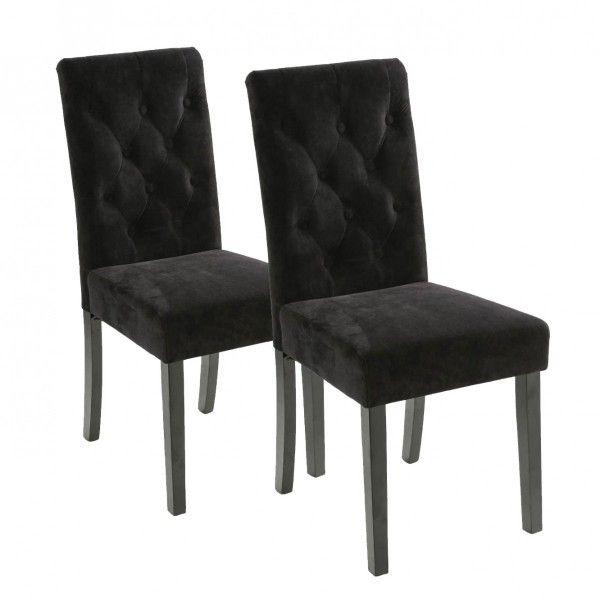 2 de chaises Velours Noir Cleva Lot txsCrhQd