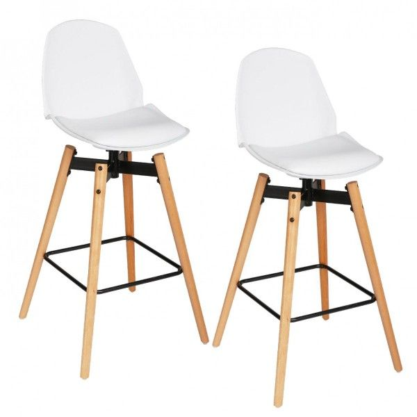 lot de 2 tabourets de bar wilio blanc tabouret de bar. Black Bedroom Furniture Sets. Home Design Ideas
