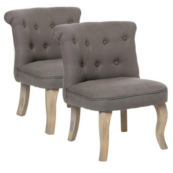 Lot de 2 fauteuils effet Lin Calixte Taupe Petit Modèle - Canapé et ...