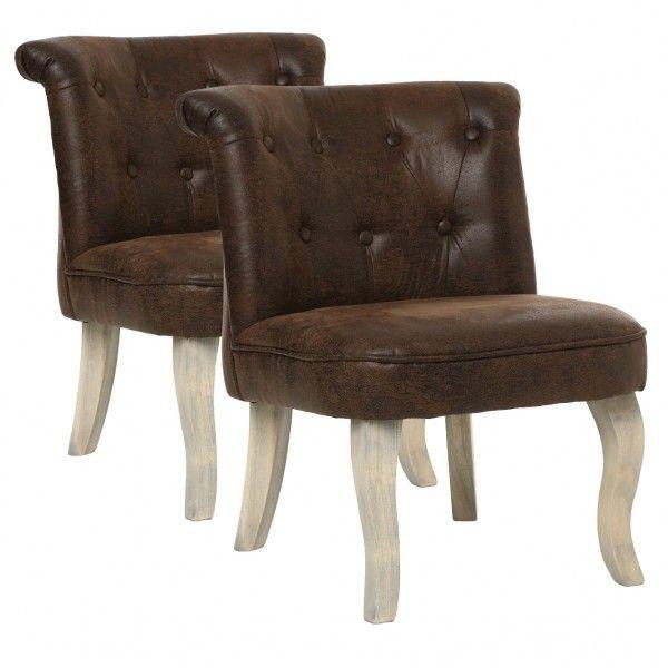 Lot de 2 fauteuils effet Cuir Calixte Marron Petit Modèle - Canapé ...