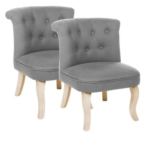 Lot de 2 fauteuils effet Lin Calixte Gris Petit Modèle - Canapé et ...