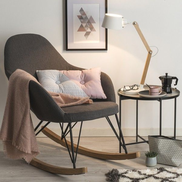 rocking chair ewan gris canap et fauteuil eminza. Black Bedroom Furniture Sets. Home Design Ideas