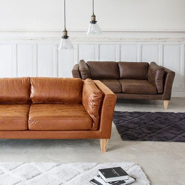 canap 2 places camel beige canap et fauteuil eminza. Black Bedroom Furniture Sets. Home Design Ideas