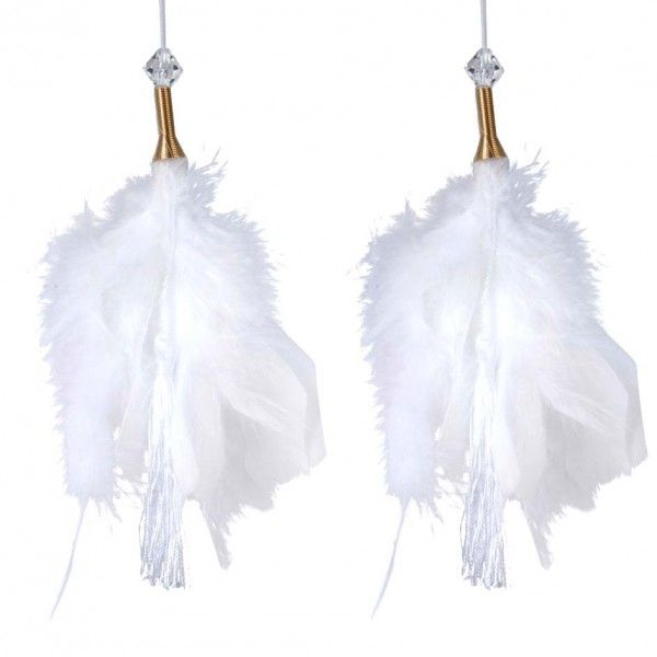 Lot de 2 suspensions Plume Aras Blanc