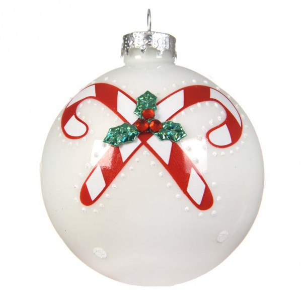 Lot de 3 boules de Noël (D80 mm) Sucre d'orge Blanc   Boule et