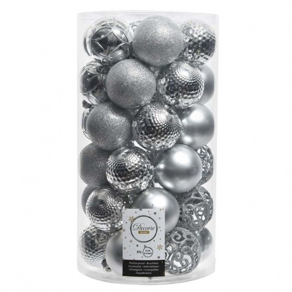 Lot de 37 boules de Noël (D60 mm) Alpine mix Argent