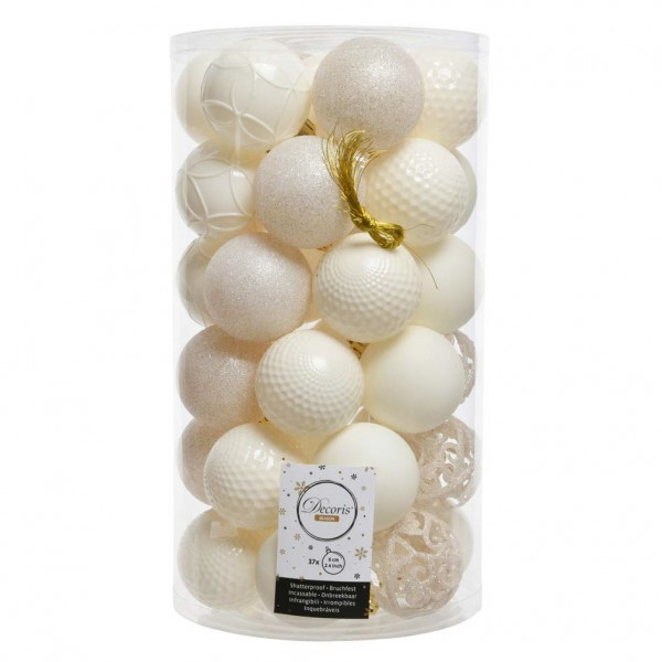 Lot de 37 boules de Noël (D60 mm) Alpine mix Blanc laine