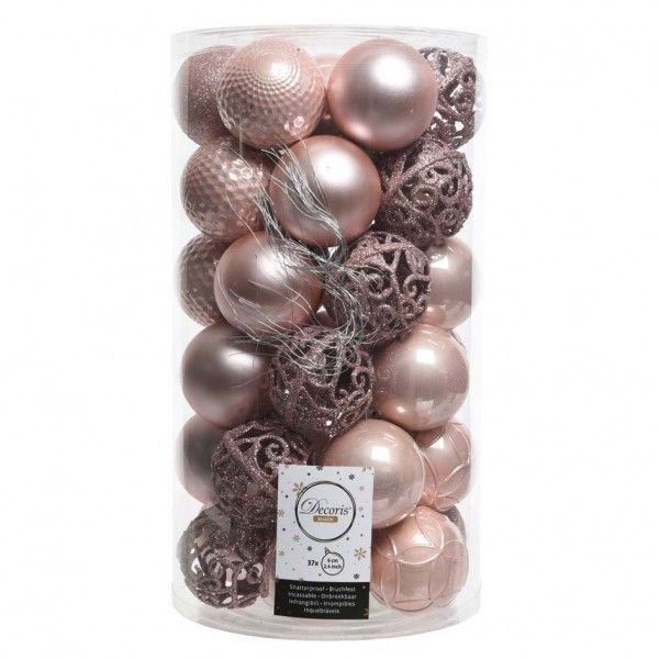 Lot de 37 boules de Noël (D60 mm) Alpine Mix Rose poudré