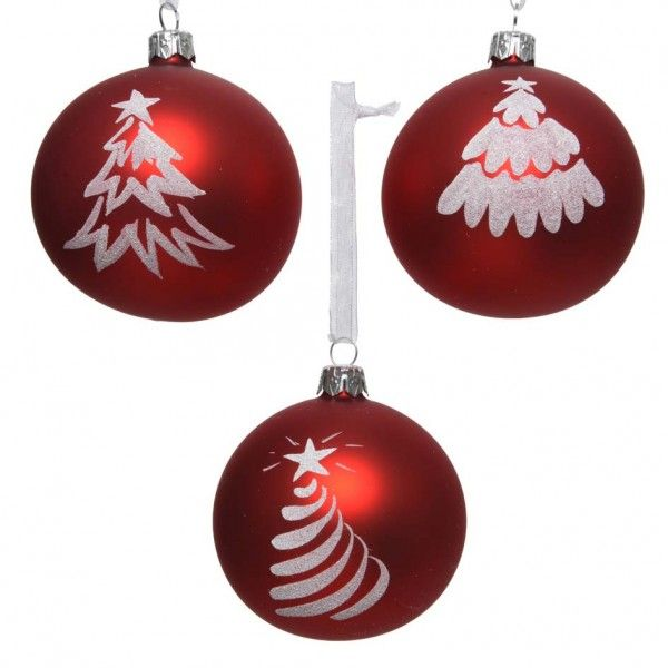 Lot de 6 boules de Noël (D80 mm) Sitka Rouge