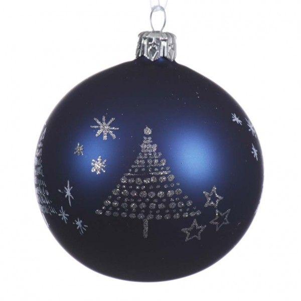 Set Van 6 Kerstballen D80 Mm Perselia Donkerblauw Kerstballen En