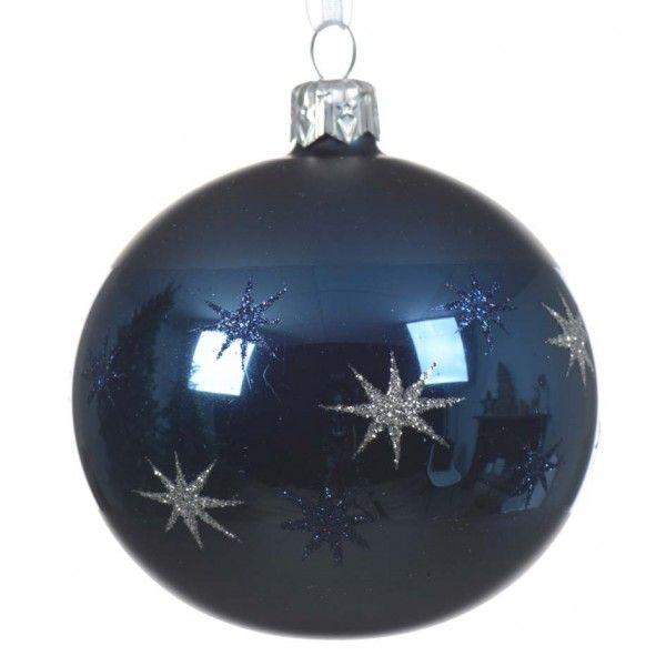 Set Van 6 Kerstballen D80 Mm Mimosa Donkerblauw Kerstballen En