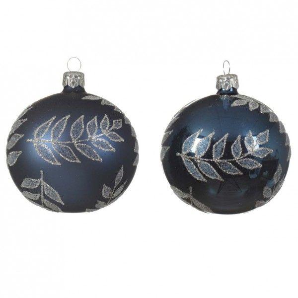 Set Van 6 Kerstballen D80 Mm Moringa Donkerblauw Kerstballen En