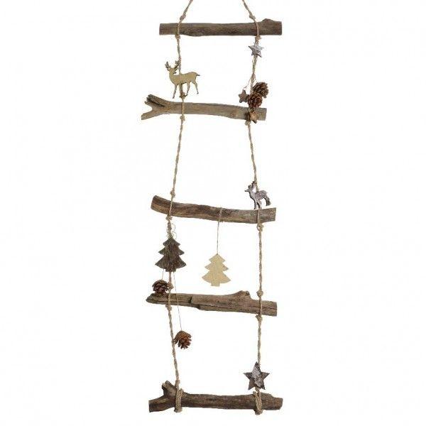 echelle en bois d cor e naturel h110 cm d co de no l. Black Bedroom Furniture Sets. Home Design Ideas
