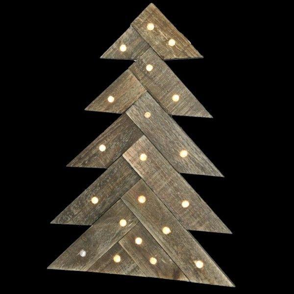 Sapin En Bois Illumine Blanc Chaud Deco De Noel Pour La Maison