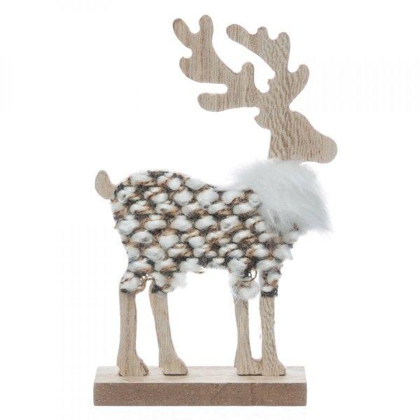 renne tricot en bois poser naturel d co de no l pour la maison eminza. Black Bedroom Furniture Sets. Home Design Ideas