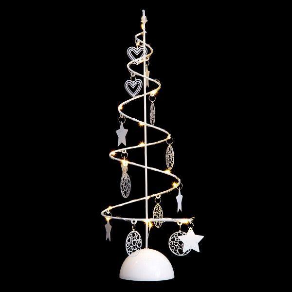 sapin en m tal illumin spirale toil e blanc chaud d co. Black Bedroom Furniture Sets. Home Design Ideas