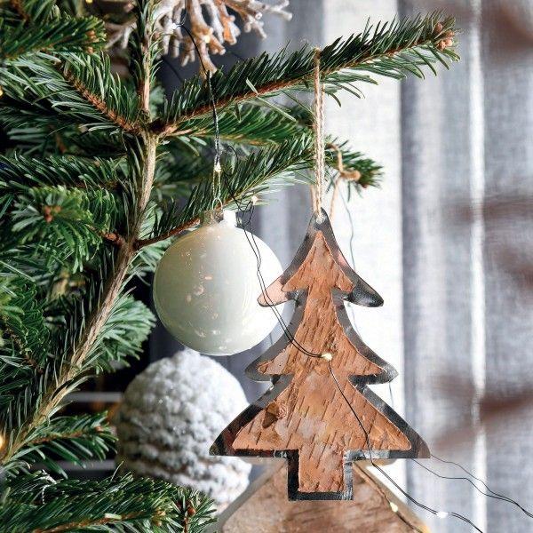 Sapin de Noël en bois Pila Naturel   Boule et déco de sapin   Eminza