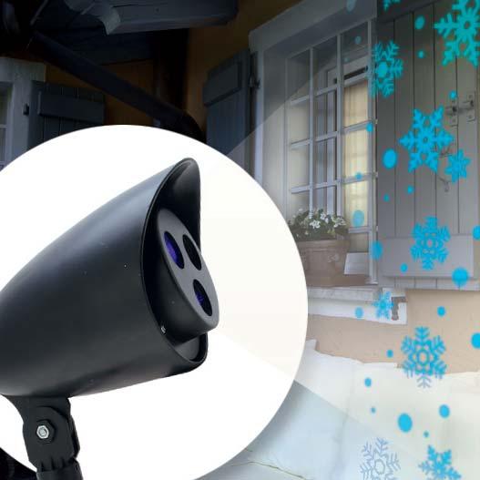 Projecteur laser neige bleu 3 led d coration lumineuse eminza for Projecteur laser neige
