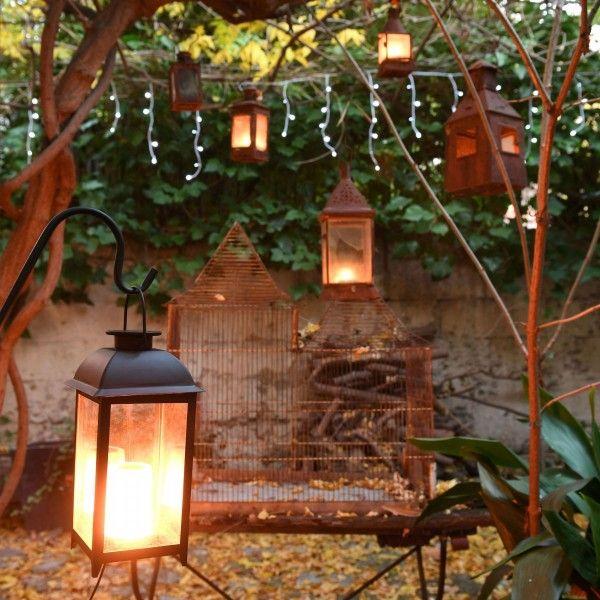 4x DEL Lanterne Bougie DECO-Lanterne flammes Effet Jardin Lanterne Photophore des lanternes