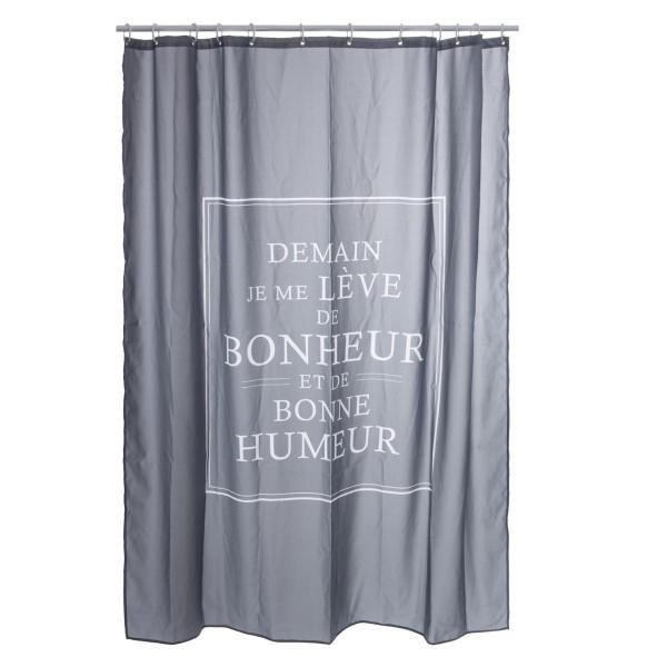 Rideau de douche (200 cm) Bonheur Gris - Accessoire Douche/Baignoire ...