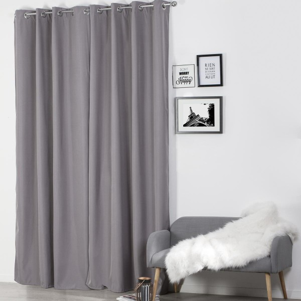 rideau occultant isolant 140 x 260 cm isaia gris clair. Black Bedroom Furniture Sets. Home Design Ideas