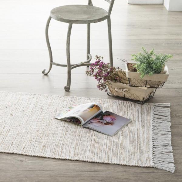 tapis jute 140 cm cotoneo blanc - Tapis Jute
