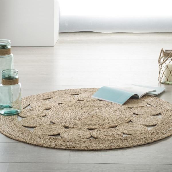tapis jute d120 cm vent beige naturel - Tapis Jute