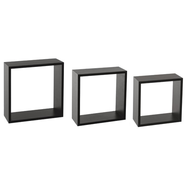 lot de 3 tag res cube noir grand mod le tag re murale eminza. Black Bedroom Furniture Sets. Home Design Ideas