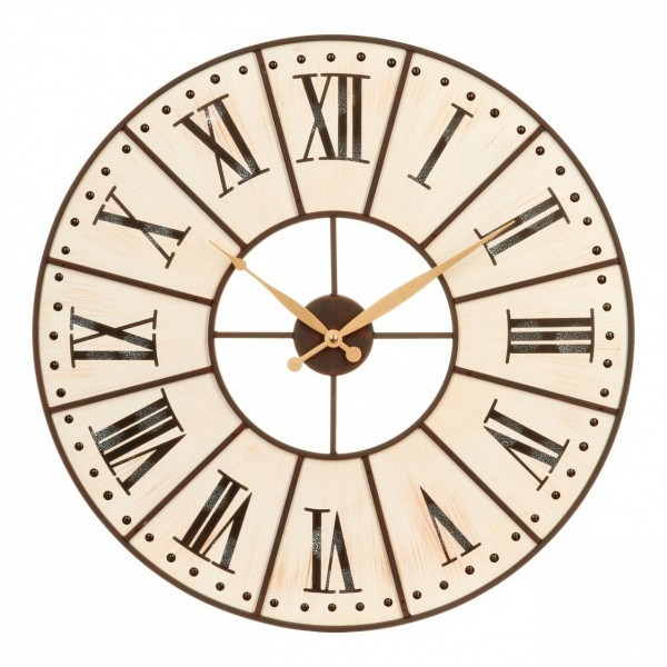 Horloge Cadran Beige Decoration Murale Eminza