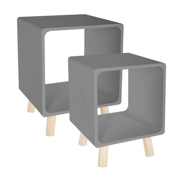 lot de 2 tables de chevet break gris table eminza. Black Bedroom Furniture Sets. Home Design Ideas